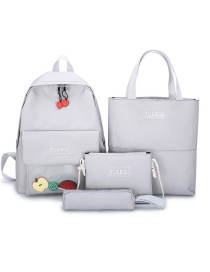 Fashion Gray Contrast Stitching Love Letter Backpack Four-piece