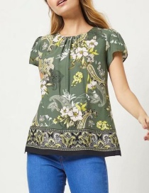 Fashion Green Floral Print Pleated Short Sleeves