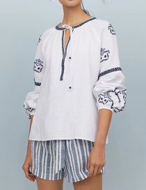 Fashion White Lace-up Embroidered Shirt