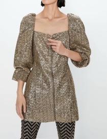 Fashion Golden Zip Beaded Square Neck Dress