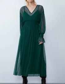 Fashion Dark Green Book Girdle V-neck Dress