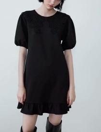 Fashion Black Convex Lace Neckline Dress
