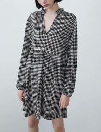 Fashion Black And White Houndstooth Deep V-neck Dress