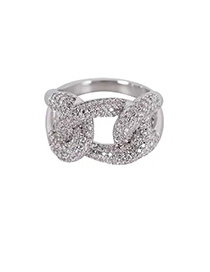 Fashion Platinum Geometric Full Diamond Cross Chain Wide Faceted Ring