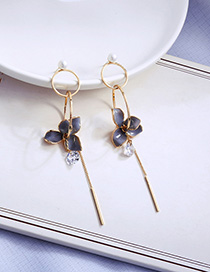 Fashion Gray Dripping Flower Crystal Pearl Earrings