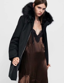 Fashion Black Long Sleeves With Hooded Fur Collar And Elasticated Cuffs