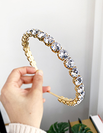 Fashion White Alloy Diamond Round Headband