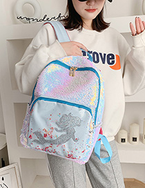 Fashion Silver Sequined Mermaid Backpack