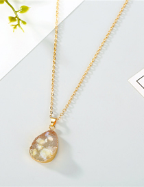 Fashion Yellow Shell Imitation Natural Stone Water Drop Resin Necklace