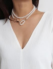 Fashion Golden Handmade Beaded Geometric Pearl Single Layer Necklace