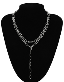 Fashion White K Geometric Double Chain Y-tassel Necklace