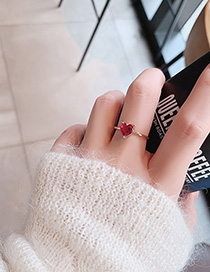 Fashion Red Love Ring With Crystal Zircon