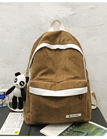 Fashion Brown With Pendant Stitched Contrast Corduroy Backpack