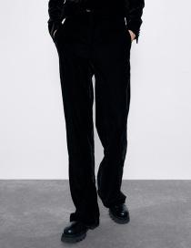 Fashion Black Velvet Straight Pants