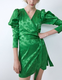 Fashion Green Silk-satin Double-breasted Belted V-neck Dress