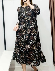 Fashion Color Long Sleeve Patchwork Long Dress