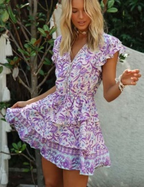 Fashion Purple V-neck Lace Dress With Ruffled Sleeves