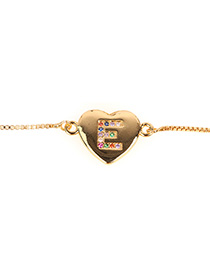 Fashion E-gold Heart Bracelet With Diamonds And Letters