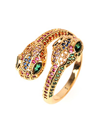 Fashion Color Snake-shaped Double-head Open Ring