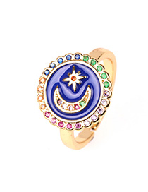 Fashion Blue Moon Star Open Drop Ring With Diamonds