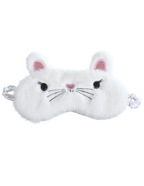 Fashion White Cat Shading Plush Children's Eye Mask