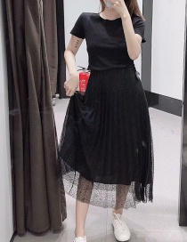 Fashion Black Pleated Tulle Skirt