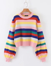 Fashion Color Striped Lantern Sleeve Sweater