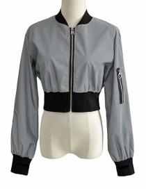 Fashion Gray Reflective Short Cropped Zip Jacket