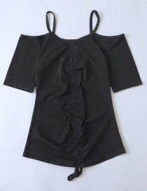 Fashion Black Drawstring Pleated Strapless T-shirt