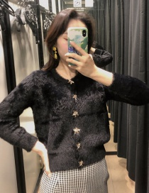 Fashion Black Single-breasted Faux Fur Sweater
