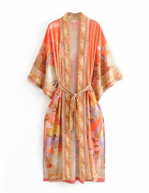Fashion Orange Beauty Print Lace Up Kimono
