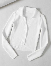 Fashion White Unbuttoned Asymmetric Vpolo Collar Sweater