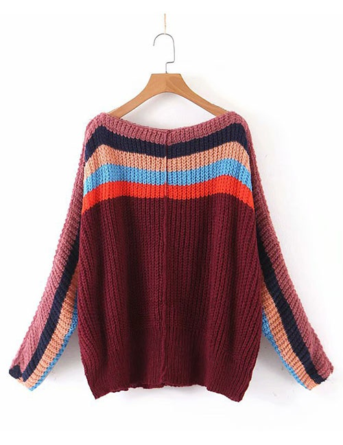 Fashion Wine Red Rainbow Contrast Knit Sweater