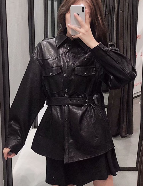 Fashion Black Pu Leather Single Breasted Jacket