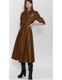 Fashion Coffee Color Faux Leather Single-breasted Dress