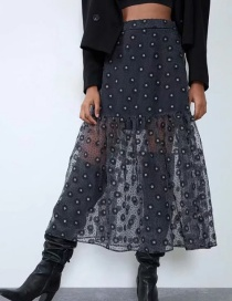 Fashion Black Organza Printed Skirt