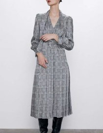 Fashion Black And White Belted Check Print Dress