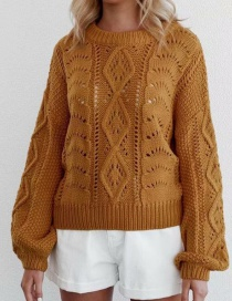 Fashion Khaki Round-neck Cutout Knitted Sweater