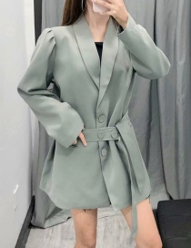 Fashion Green Puff Sleeve Lace Up Suit