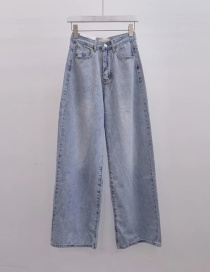 Fashion Blue Washed Thin Wide-leg Jeans