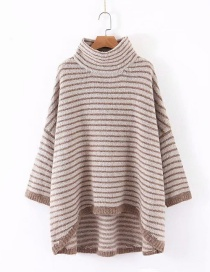 Fashion Coffee Color High-neck Striped Sweater With Bat Sleeves