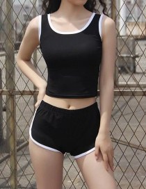 Fashion Black Contrasting Edged Vest + Shorts Set
