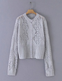 Fashion Gray Hollow Mohair Single-breasted Sweater Cardigan