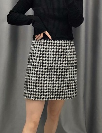 Fashion Black Houndstooth A-line Skirt