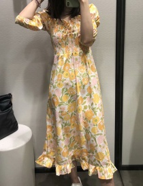 Fashion Yellow Floral Print Elasticated Pleated Dress