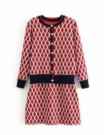 Fashion Red Foliage Knitted Suit