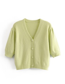 Fashion Green Mohair Single-breasted Sweater