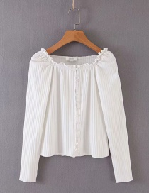 Fashion White Knitted T-shirt With Stretch Thread Love Button