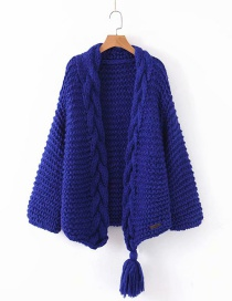 Fashion Blue Knitted Twist Fringed Sweater