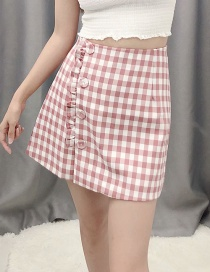 Fashion Red Checked Single-breasted A-line Skirt